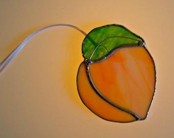 Peach Suncatcher Peach Fruit Stained Glass Suncatcher Georgia Peach
