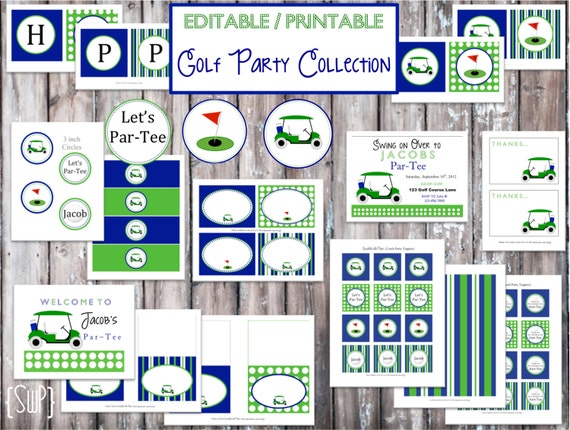 INSTANT DOWNLOAD- Printable Golf Party Collection- EDITABLE