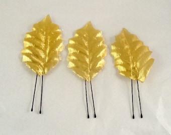 Bridal Hair Pins Gold Leaves Women Teens Girls