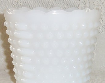 Vintage Fire King Collectible Hobnail Milk Glass Vase, Vintage Milk Glass Vase, Vintage Fire King Vase, Vintage Hobnail Milk Glass, Vase,