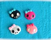 Kawaii skulls cabochons 4 pcs