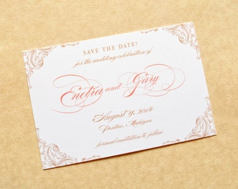 Peach Save The Date, Peach Save The Dates, Save The Dates, Romantic Save The Dates, Elegant Save The Dates, Save The Date Cards