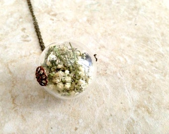 Baby's Breath Bouquet Glass Orb Locket by Heron and Lamb