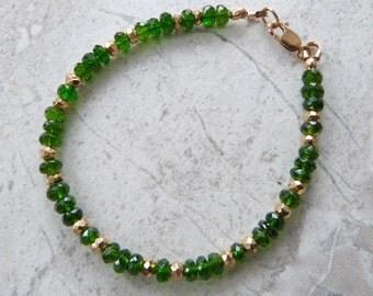 """Chrome Diopside Gemstone Bracelet w 14K Gold Fill, Genuine Faceted Gemstone Bracelet, Emerald Green """"Affordable Emeralds"""" Handmade Bracelet"""