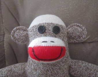 Original Vintage Style Sock Monkey Rockford Red Heel Soft Doll Handmade Toy