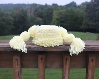 customizable cabbage patch kid crochet hat