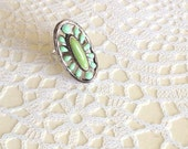 Vintage Enamel Boho Ring, Aqua Turquoise Copper Ring, Oval Art Nouveau Jewelry