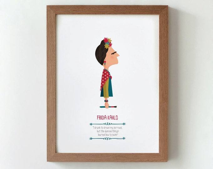 Illustration, print, Frida Kahlo, Tutticonfetti, wall art, art decor, hanging wall, printed art, decor home, gift idea, sweet home.