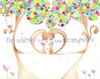 Customizable, Original 8x10 Family Tree with Squirrels Watercolor Painting - Family Tree