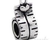 Tape Measure Heart European Charm Bead For European Charm Bracelets And Necklaces - Gift For Crafters, Seamstress, Designers, Sewers
