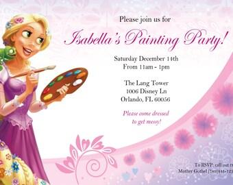 Princess Rapunzel Paint Your Dreams Party Birthday Invite