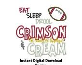 DD Eat Sleep Drool Crimson & Cream - Toddler - Onesie - Burp Cloth Design - Machine Embroidery - 3 Sizes - Instant Download