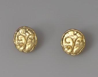 Coins-Gold Earrings  Hammered Coins Earring Circle post earring stud earrings   Jewelary Handmade