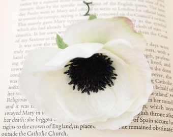 Stunning Purest White Silk Poppy Hair Flower or Pin on Corsage