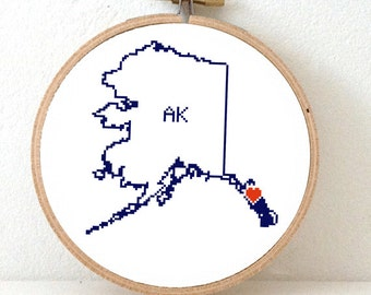 ALASKA Map Cross Stitch Pattern. Alaska art pattern with Juneau. Alaska state ornament pattern. AK decor. Wedding gift.