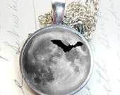 Gothic Bat Moon Round Glass Tile Necklace