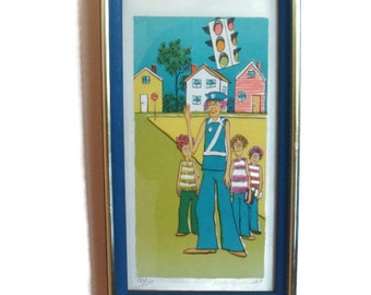 Children's Room Signed Lithograph by Patty Hendricks, children and a crossing guard, In a 70s Frame, ready to be hung