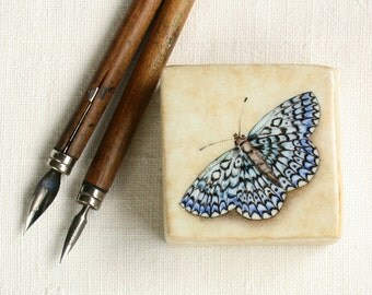 butterfly porcelain box,  dusty blue handpainted favor, ring box