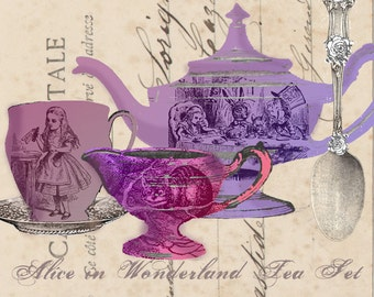 Mad Tea Party Digital Tea Set - Alice in Wonderland - Digital Collage Sheet - Through the Looking Glass
