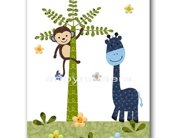 Giraffe Nursery Monkey Nursery Baby Nursery Decor Baby Boy Nursery Kids Wall Art Kids Art Baby Room Decor Nursery Print Blue Green