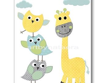Giraffe Nursery Art Baby Boy Nursery Wall Art Children Room Decor Kids Decor Owl Nursery Decor Baby Art Print Yellow Gray green blue