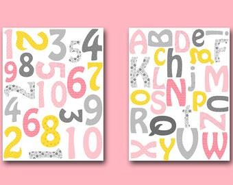 Alphabet Nursery Alphabet Number Nursery Number Baby Girl Nursery Art Print Children Art Baby Room Decor set of 2 Alphabet Number Pink
