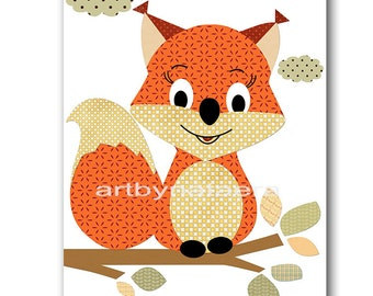Squirrel Nursery Childrens Art Kids Wall Art Baby Boy Room Decor Baby Boy Nursery Art Kids Art Baby Nursery Print Kids Prints Orange