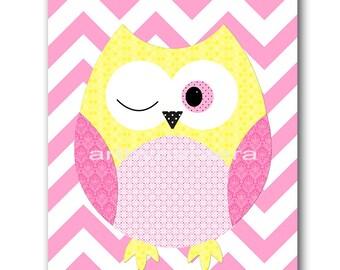 Owl Decor Owl Nursery Baby Girl Nursery Art Decor Nursery wall art baby nursery decor kids room decor Kids Art Girl Print pink yellow