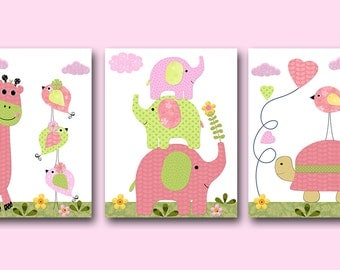 Elephant Nursery Giraffe Nursery Turtle Nursery Baby Girl Nursery Art Print Children Wall Art Baby Room Decor Kids Print set of 3 Rose