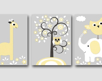 Kids Wall Art Giraffe Nursery Elephant Nursery Owl Nursery Baby Nursery Art Print Children Wall Art Baby Room Decor set of 3 Tree Gray /