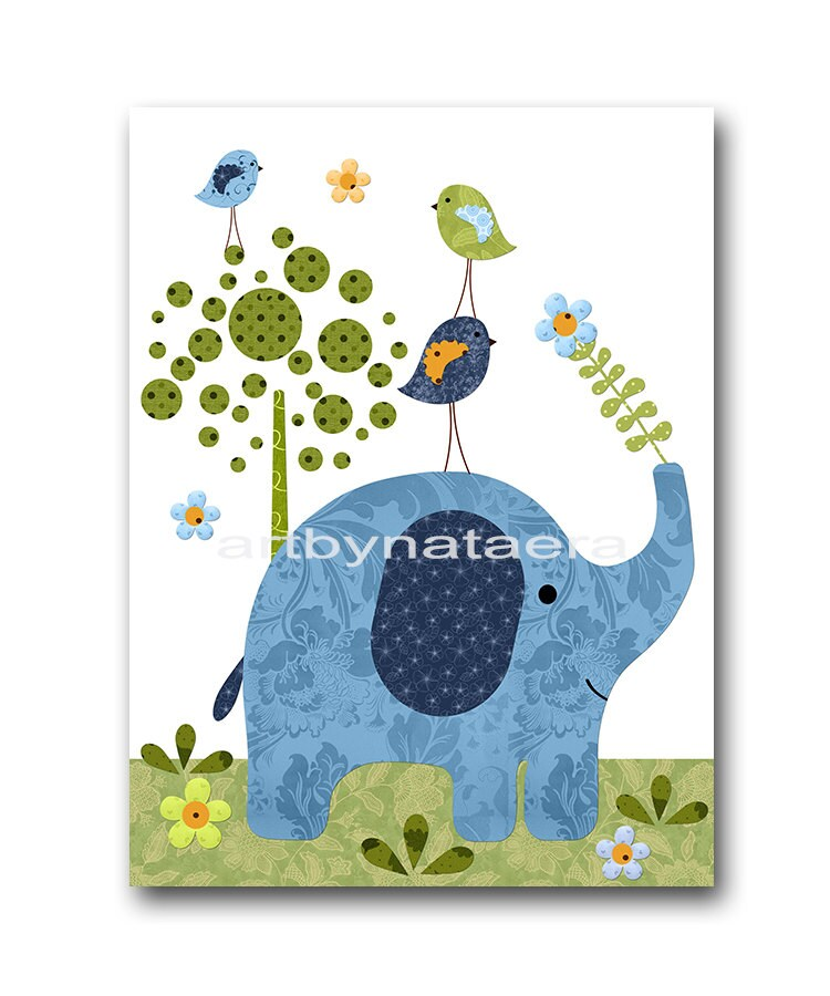 Bird elephant nursery kids wall art baby nursery decor baby - Wall decor for baby boy ...