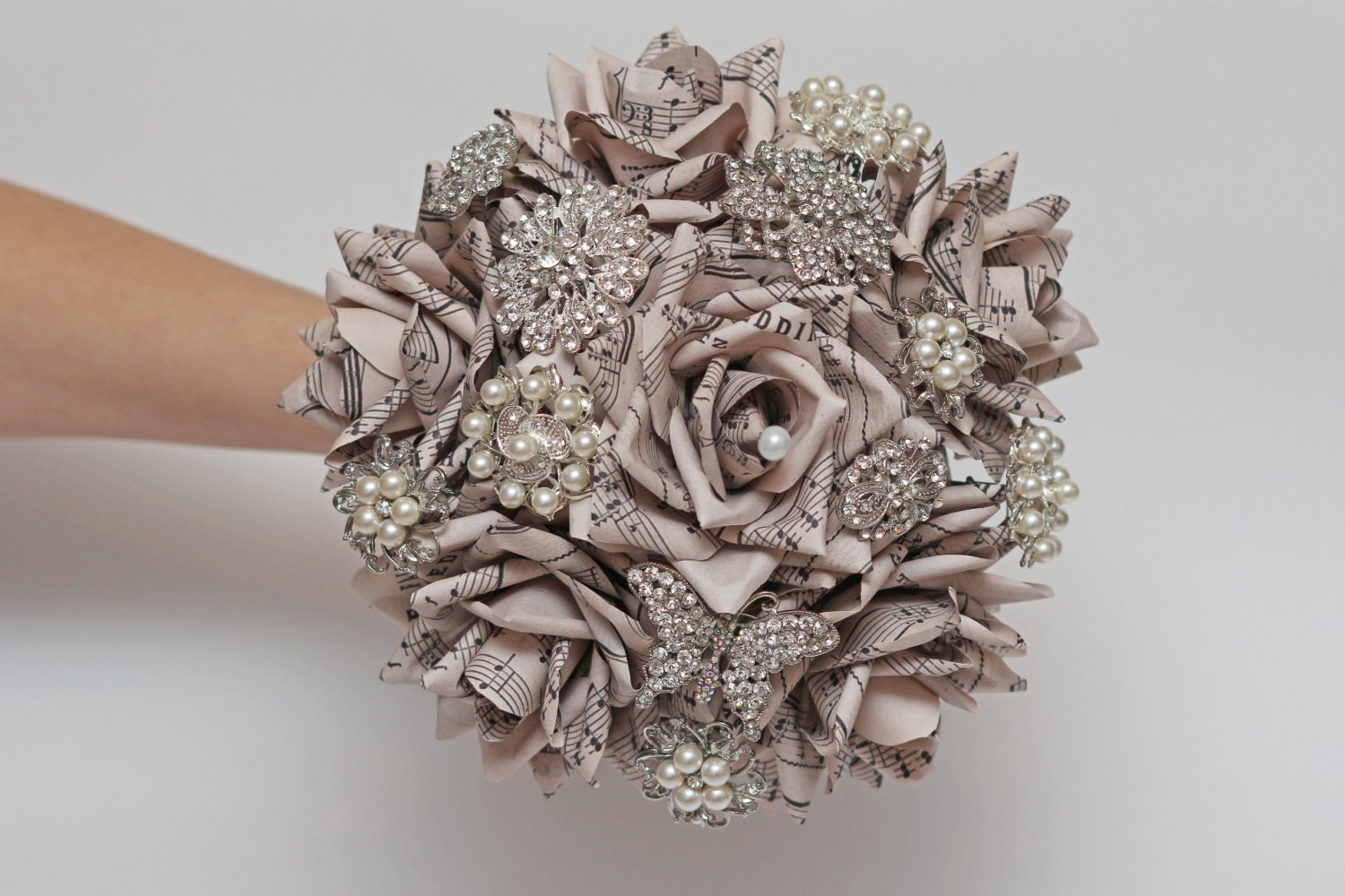 brooch bouquet wedding bouquet paper flower by FlowerDecoration