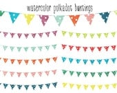Watercolor Polkadot Buntings Clip Art - Instant Download - for scrapbooking, graphic design - personal and commercial use - digital art