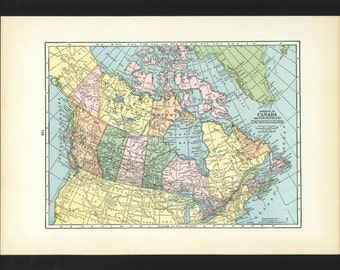 Vintage Map of Canada From 1935 Original