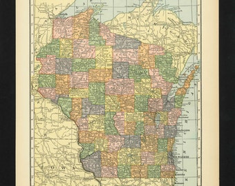 Vintage Map Wisconsin From 1926 Original