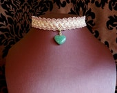 Green Heart Choker, semi precious stone on Vintage Pink Braid Trim, gift for Child or Teen