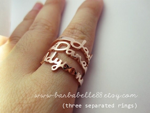 Font 17 // Personalized name ring Any size by barbabelle88