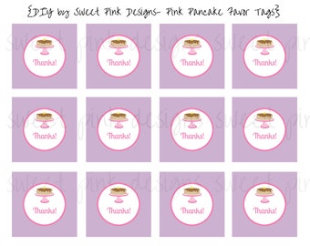 Pink Pancake Party- Favor Tags
