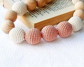 Nursing necklace Teething bead Neutral color Beige brown Baby Mom necklace Wrap Baby Carrier Sling Accessory