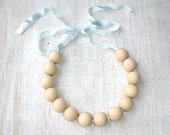 Nursing Wooden necklace Baby boy teething necklace Light blue Delicate tone Ready to ship - black friday sale