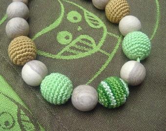 Sale Green Nursing necklace,Babywearing necklace,Baby toy,Breastfeeding,For baby, Babywearing necklace,Owl birds Wrap kokadi