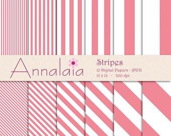 Blush Digital Paper Pack: Blush Pink White Vertical Diagonal Stripes Lines 12x12 8,5x11 Scrapbook Paper Commercial Use 383