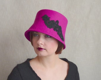 Hot Pink Cloche Hat with Black Beaded Lace - Bucket Hat - Wool Felt Hat - Pink Hat