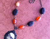 OOAK**Butterfly Cabochon  Gemstone Necklace, glass cabochon, butterfly, gothic chic, gemstone jewelry,