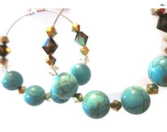 Hoop Earrings- Magnesite Gemstone, Swarovski Crystal Mocha, Silver and Gold, Summer jewelry, Sparkle