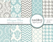 Blue & Grey Digital Paper Pack - Whisper Blue - Aqua and Gray Scrapbook Papers - Dandelion Floral Digital Paper