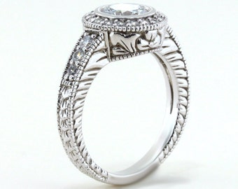 Bezel Set Engagement Ring Diamond Setting Moissanite Center Vintage Style Ring Gold Platinum or Palladium Kris Carved