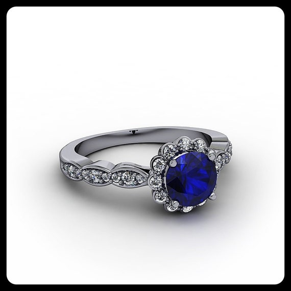 Are Wedding Rings Worn On The Right Hand: Blue Sapphire Engagement Ring Right Hand Ring By
