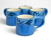 Cobalt Coffee Mugs (4) - Beautiful Royal Blue, Heavy Ceramic Design by Evandale China - Unique Shape Handle - Vintage Kitchen Serving