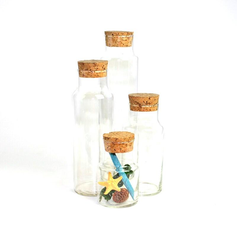 Glass Spaghetti Pasta Jar Canisters Cork Stopper Lids 4